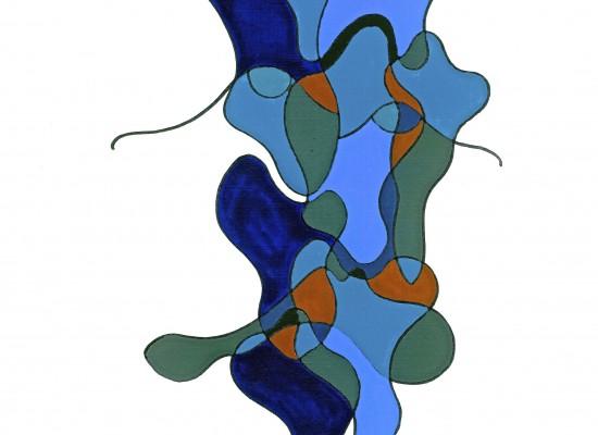 Visage aux bleus gris